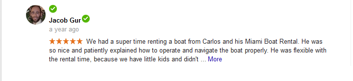 Miami Boat Rent Google Reviews