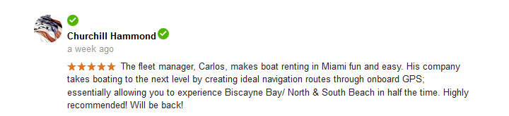 Customer Reviews for Miami Boat Rent